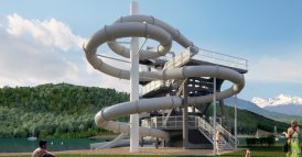 Diving board and slide tower Millstatt / Söhne&Partner architects